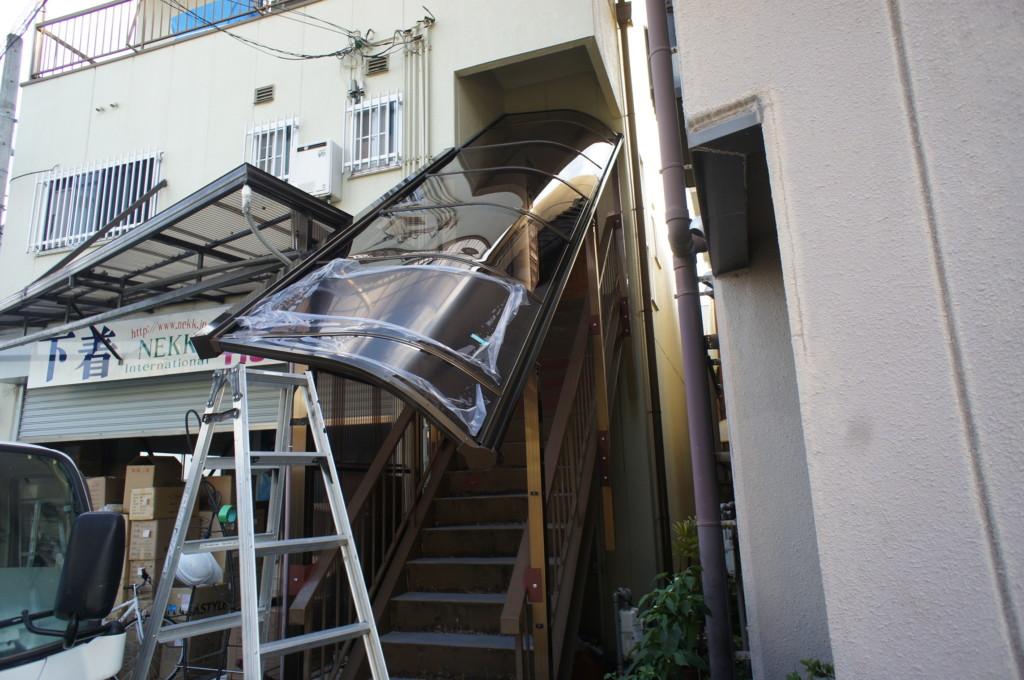 階段 テラス屋根施工