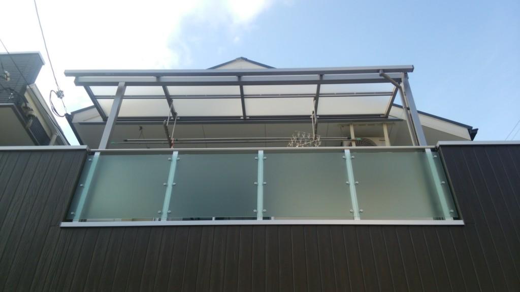 ベランダ テラス屋根設置 (四国化成・バリューテラスE Rタイプ)