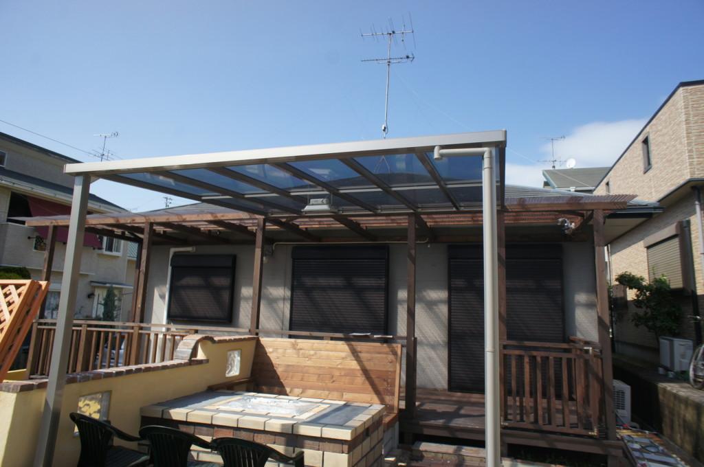 ベランダ テラス屋根設置 (四国化成・バリューテラスE Fタイプ)