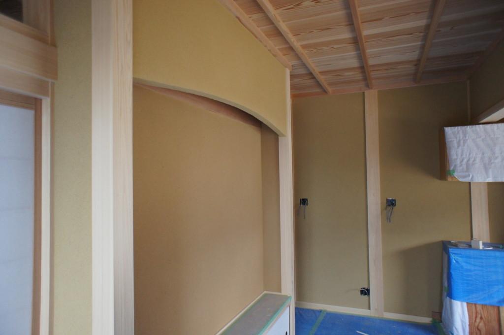 新築聚楽壁施工(荒壁塗り)