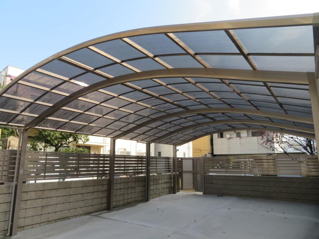コンクリート打設・カーポートワイドタイプ連棟式設置
