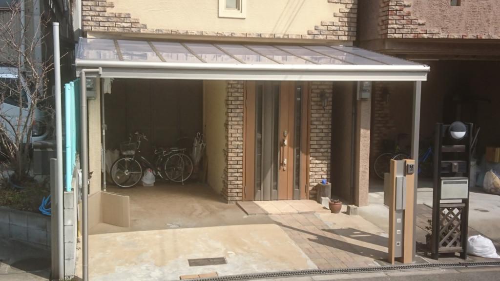 テラス屋根・機能門柱設置