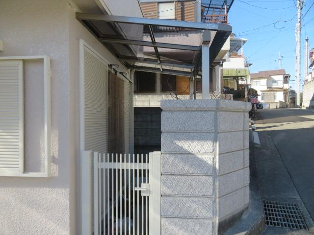 ブロック塀(大谷石)・テラス屋根・門扉新設工事